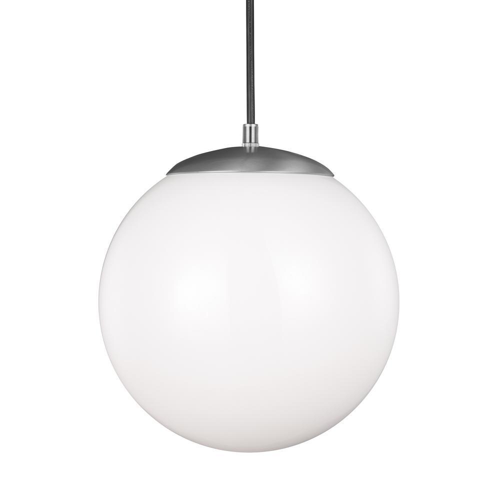 Sea Gull Lighting Hanging Globe 1 Light Satin Aluminum Pendant