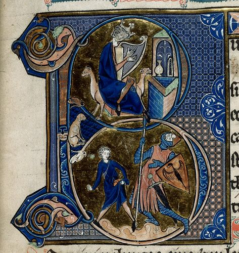 Detail of an historiated initial 'B'(eatus) of David playing the harp
