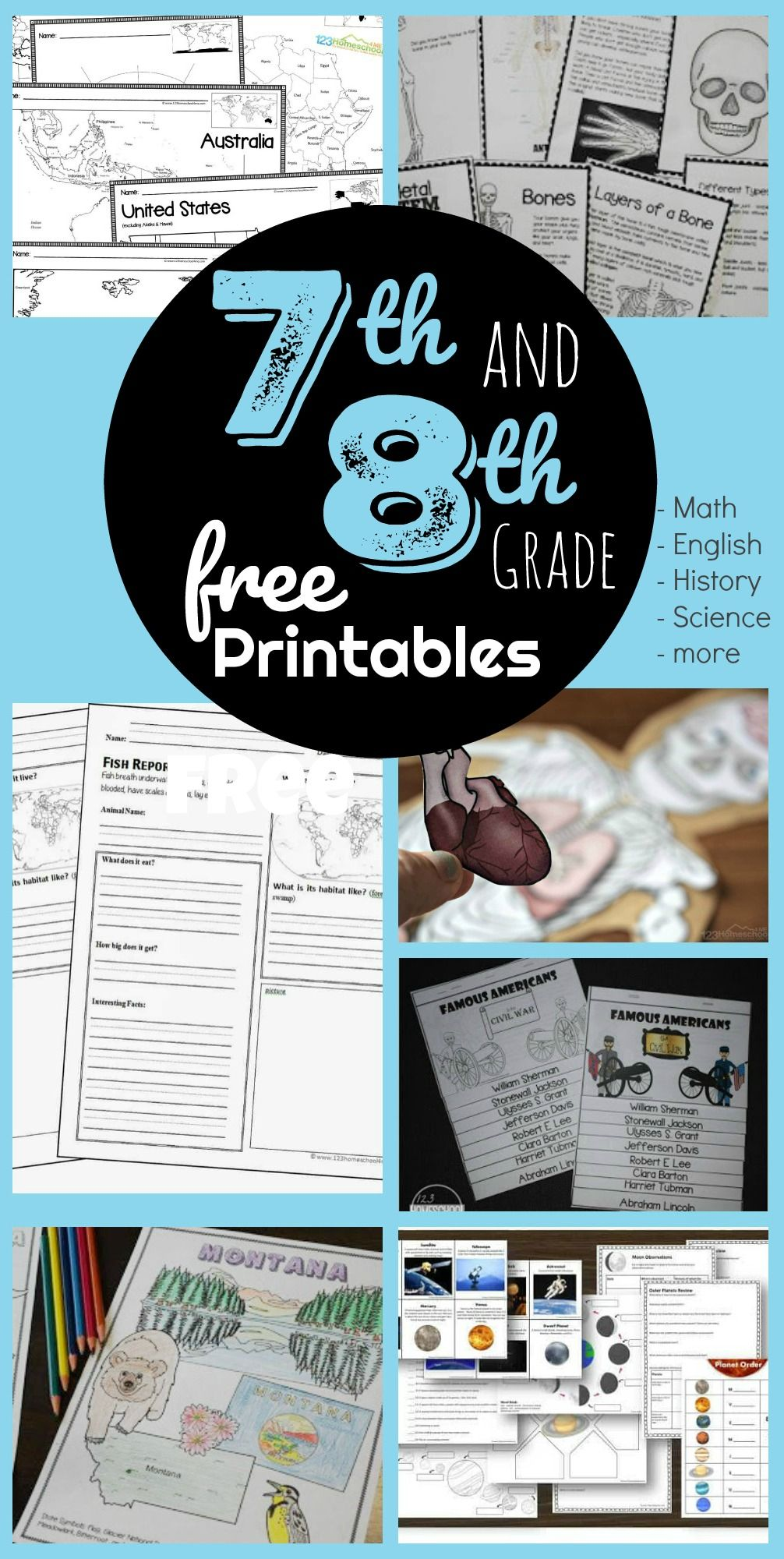 FREE 7th & 8th Grade Worksheets in 2020 Free math games