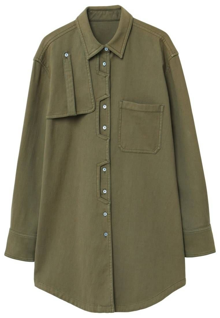 Mango Worker Shirt Khaki Fitlarge Outer Fabric Material97