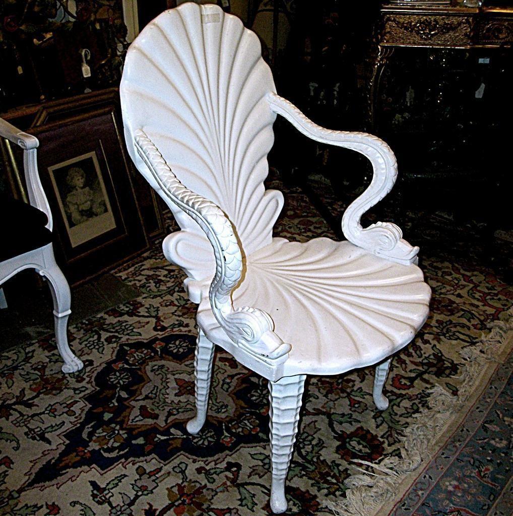 Antique Art Nouveau STYLE Clam Shell Seahorse Chair