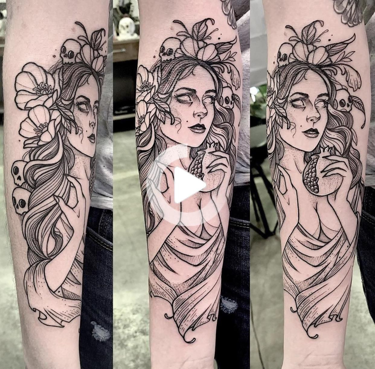 Persephone on my forearm. Done by Cutty Bage at Hollow Moon Tattoo Boone NC