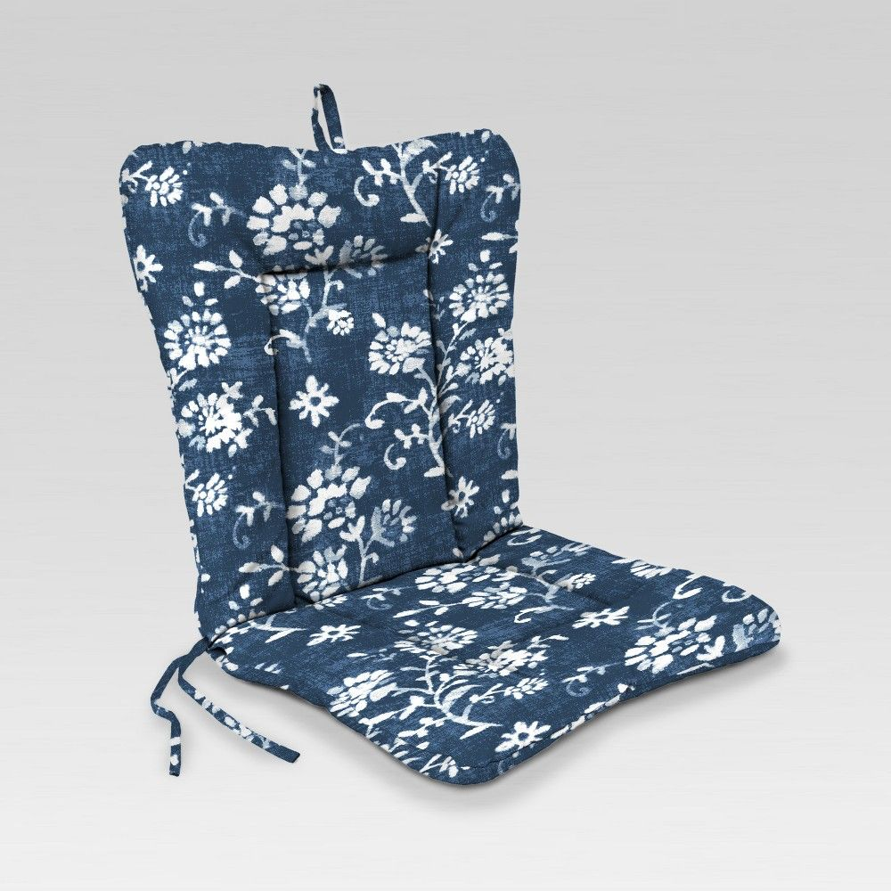 Outdoor Knife Edge Euro Style Dining Chair Cushion Navy