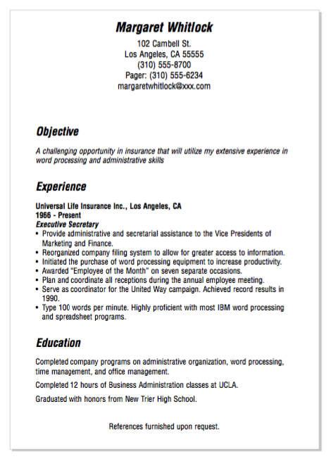 example of insurance secretary resume