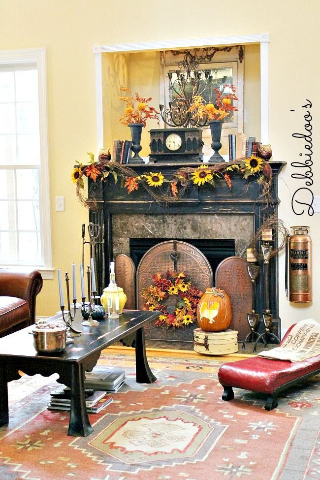 Fall decorating in the family room & Fall mantel 2013 | Decorating Hearths and Garlands