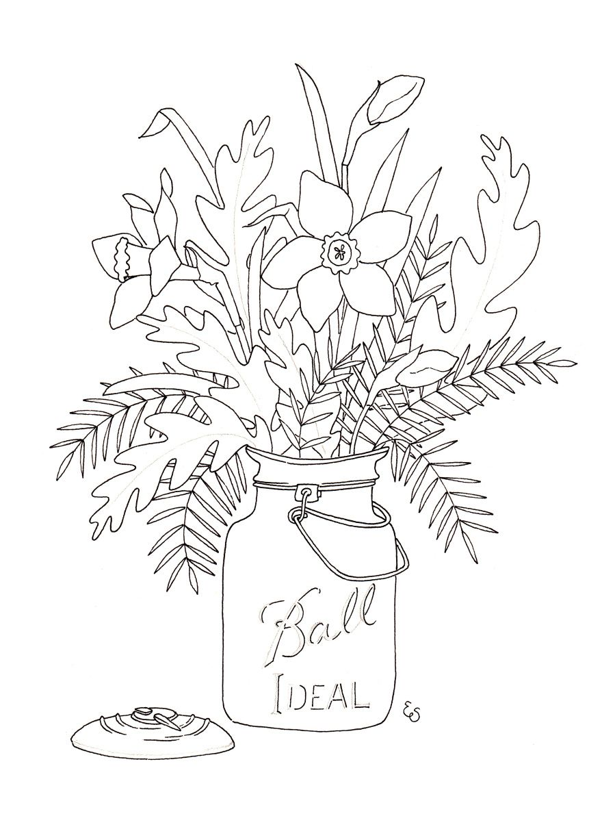 Free Printable Coloring Page Eva Shorey Blog Daffodil Bouquet