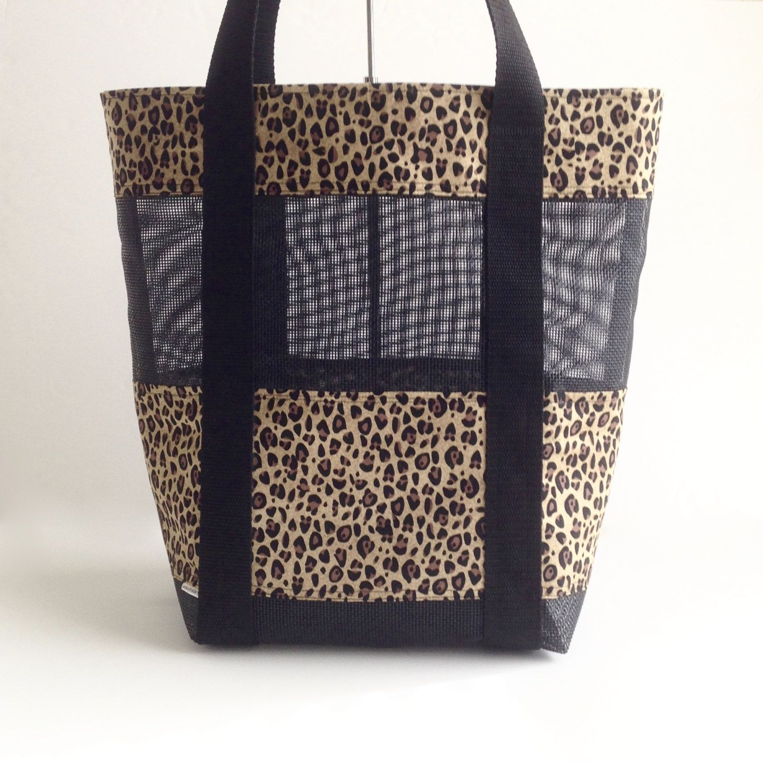 Mesh Beach Bag Leopard Black Tote Seashell Collecting