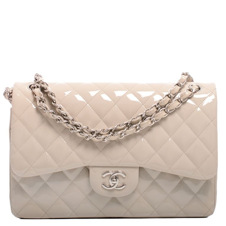 ce18486120d0 Chanel Classic Quilted Double Flap Patent Jumbo Bag in Light Beige #chanel