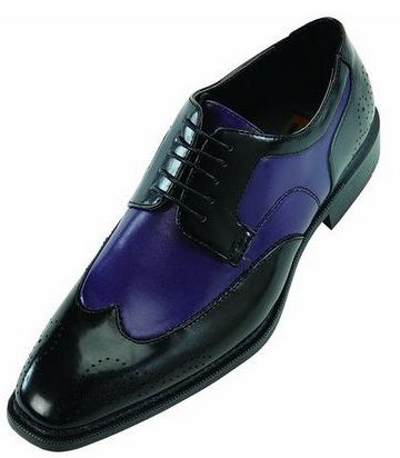 Bolano Mens Two Tone Wingtip Oxford Dress Shoe In Black And Purple