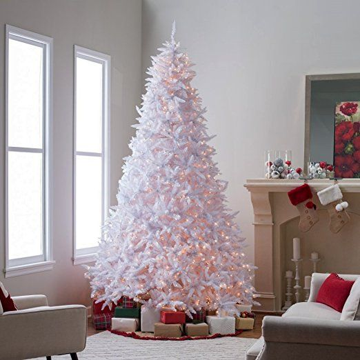 Amazon Com Artificial Christmas Tree This Fake 10 Foot Xmas Classic Style White Pine Tree Flam Artificial Christmas Tree White Christmas Trees Christmas Tree