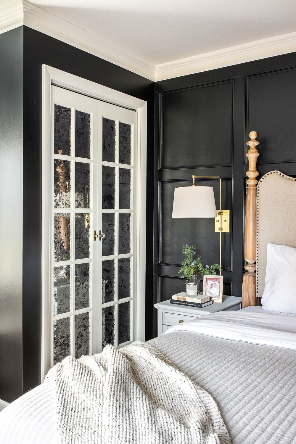 Mirrored French Closet Doors How We Created A Vintage Style Glamorous Solution For Our Bifold French Closet Doors Master Bedroom Update French Doors Bedroom