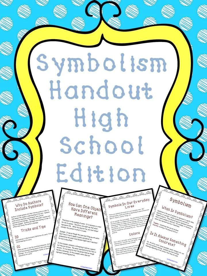 Symbolism Handout For High School Students Best Of Tpt Pinterest