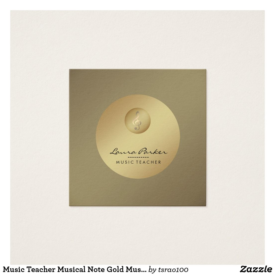 Music Teacher Musical Note Gold Musician Square Business Card ...