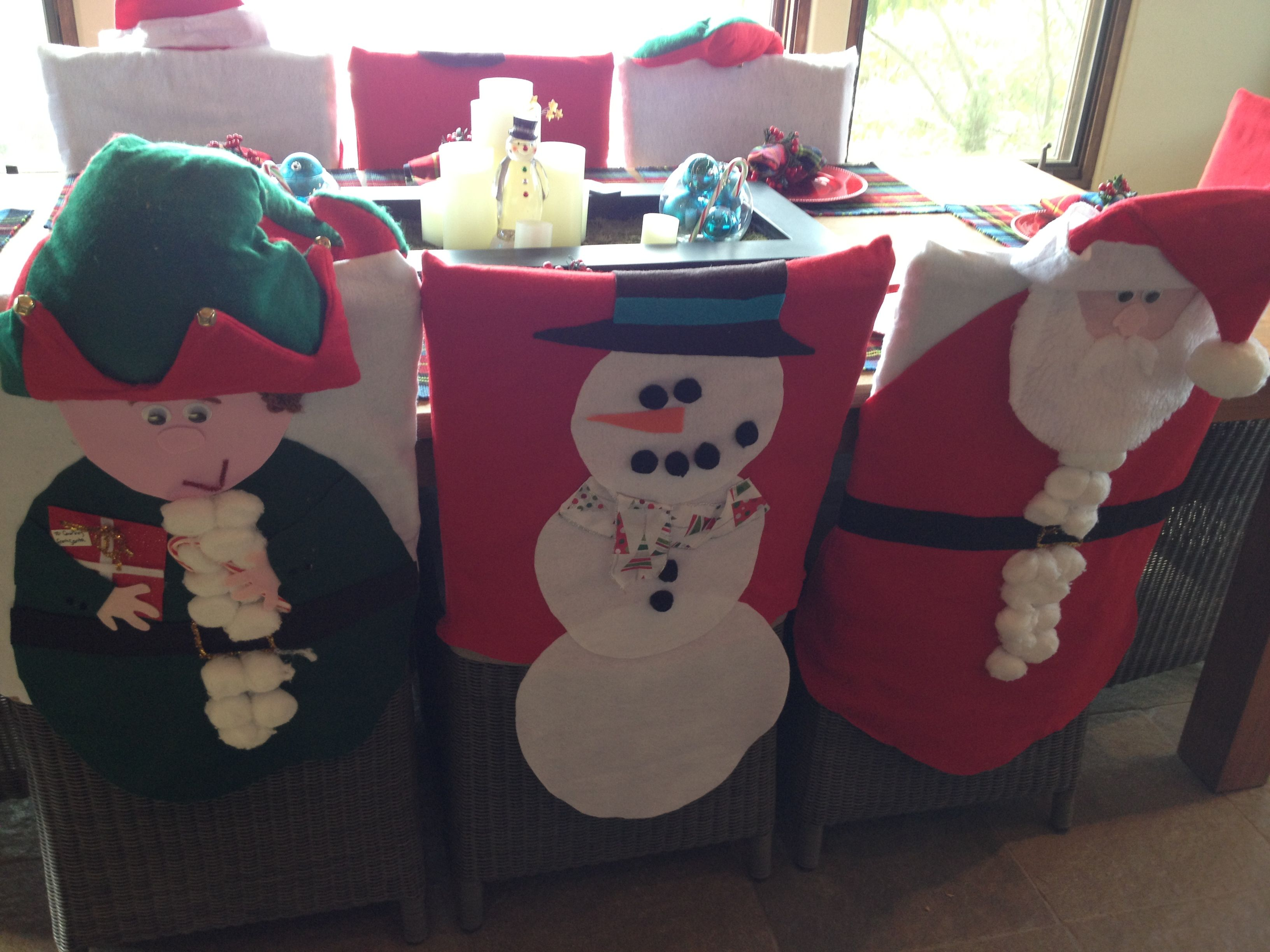 Merry Christmas Chair Covers Faux Leather Cushion Holiday Felt And Hot Glue Snowmen