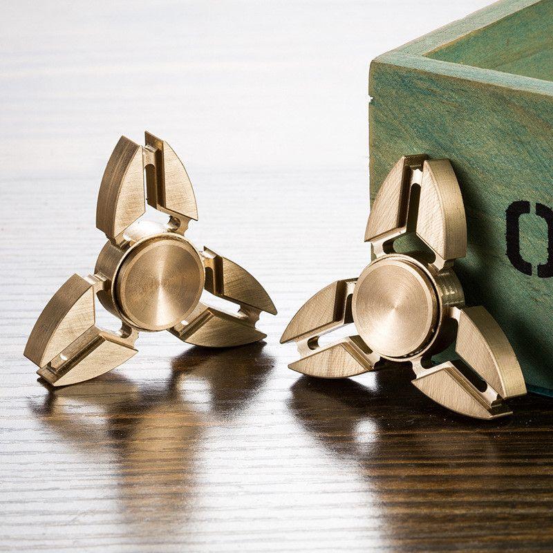 Tri Fidget Hand Spinner Triangle Brass Metal Finger Toy EDC Focus ADHD