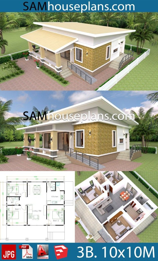 10x10 Bedroom Plans: House Plans 10x10 With 3 Bedrooms Full Interior (With