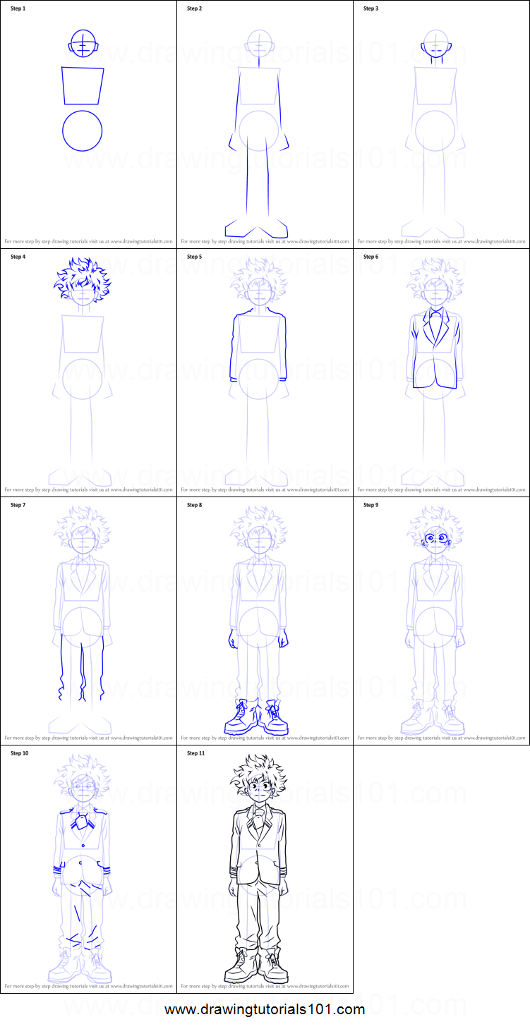How To Draw Izuku Midoriya From Boku No Hero Academia Printable Drawing Sheet By Drawingtutorials101 Com In 2020 Drawing Sheet Bleach Anime Art Drawings