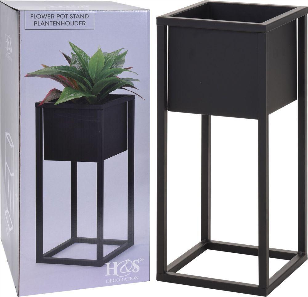 Black Square Metal Flower Plant Pot On A Stand Raised Indoor Garden 50cm Holder