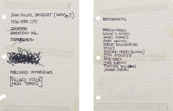 The time that Basquiat\'s Resume Sold for $50,000 | Jean michel ...
