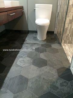 Large Slate Hex Floor Tiles Tundra Finish Works Modern Minneapolis Tiled Bathrooms