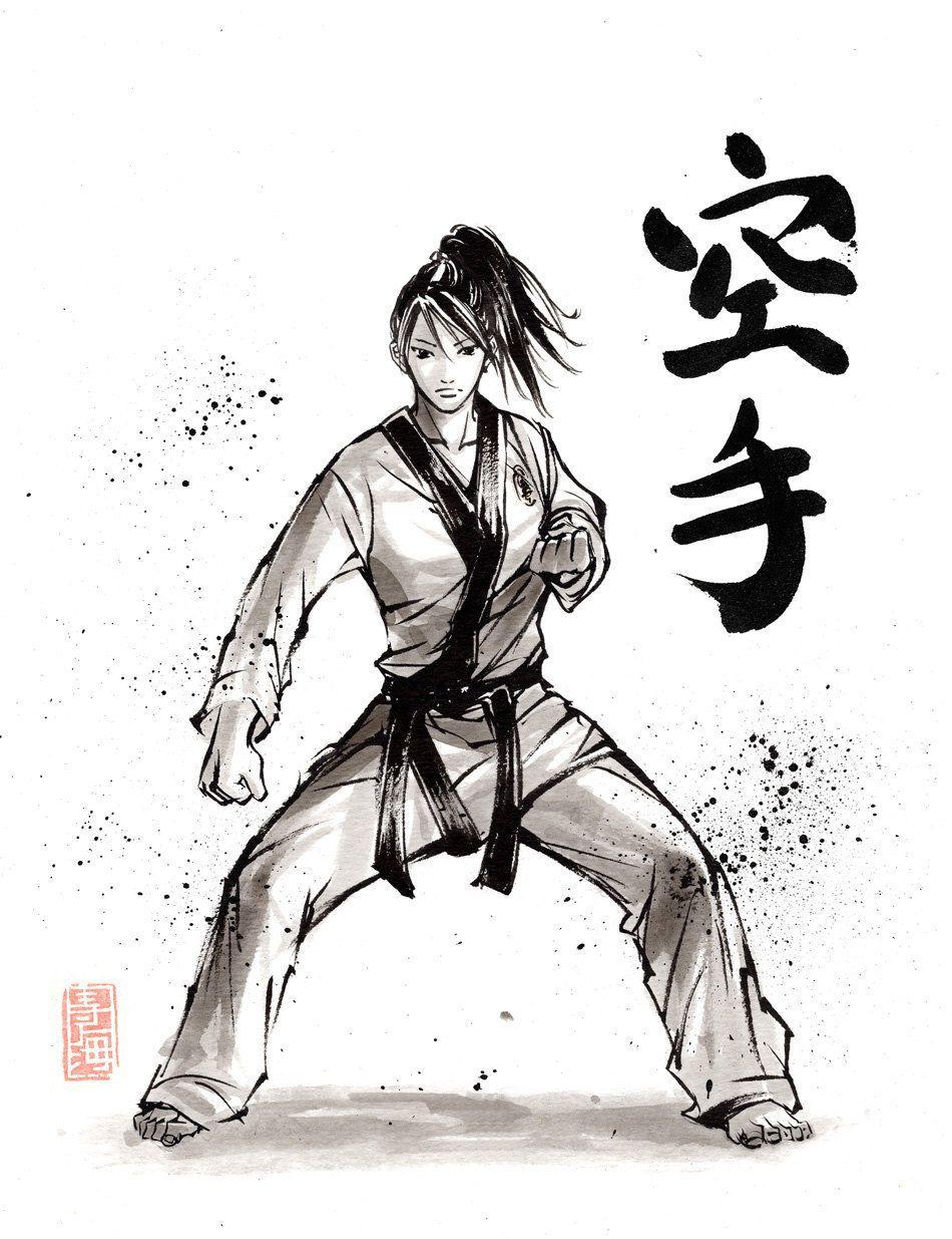 Print Fille De Karate Calligraphie Japonaise Et Peinture Par Mycks De Peinture Peinture In 2020 Martial Arts Techniques Martial Arts Sparring Karate Martial Arts