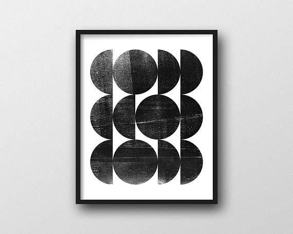 Black White Geometric Abstract Mid Century Modern Art Etsy Geometric Art Prints Mid Century Modern Art Print Art