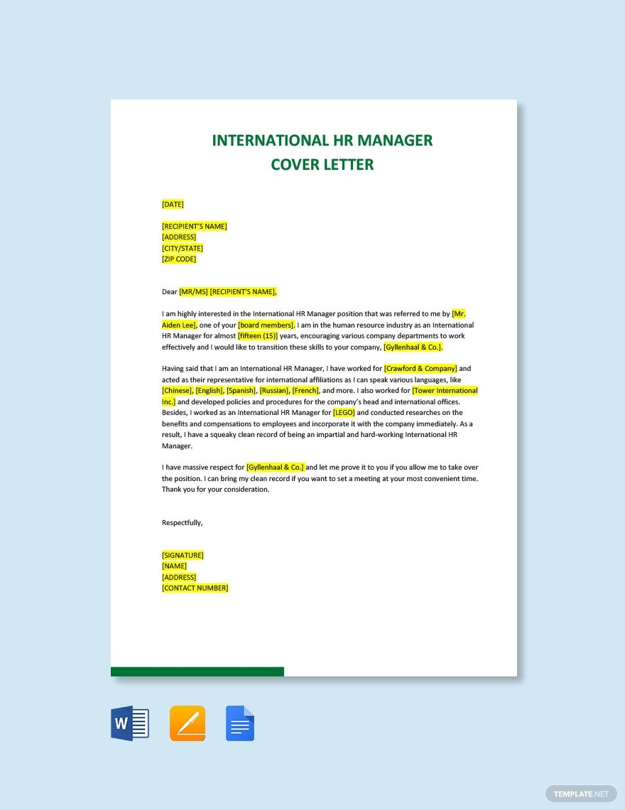 Free International HR Manager Cover Letter Template in