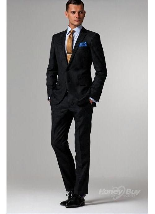 Notch Lapel Midnight Blue Stripes Mens Designer Suits On Sale ...