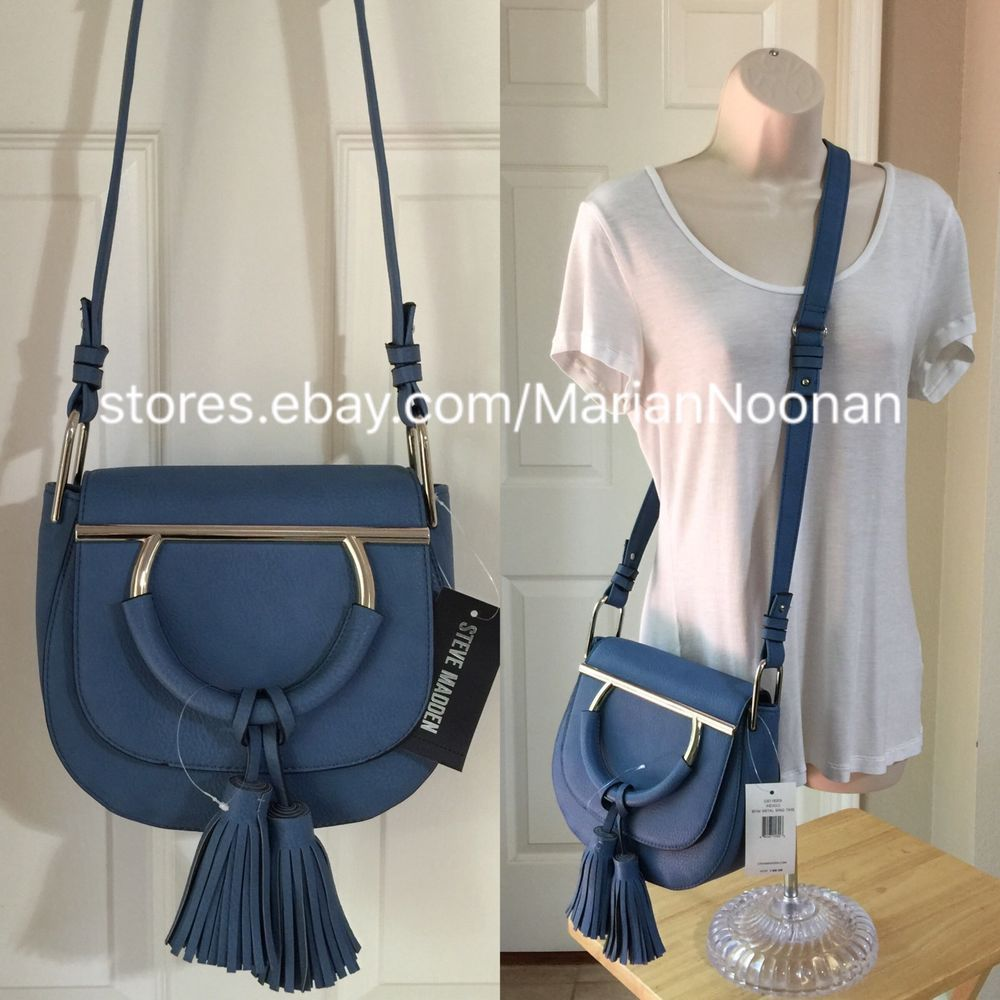 NEW Steve Madden BKIM Metal Ring Tassel Saddle Bag CrossBody Purse Indigo Blue #SteveMadden #MessengerCrossBody