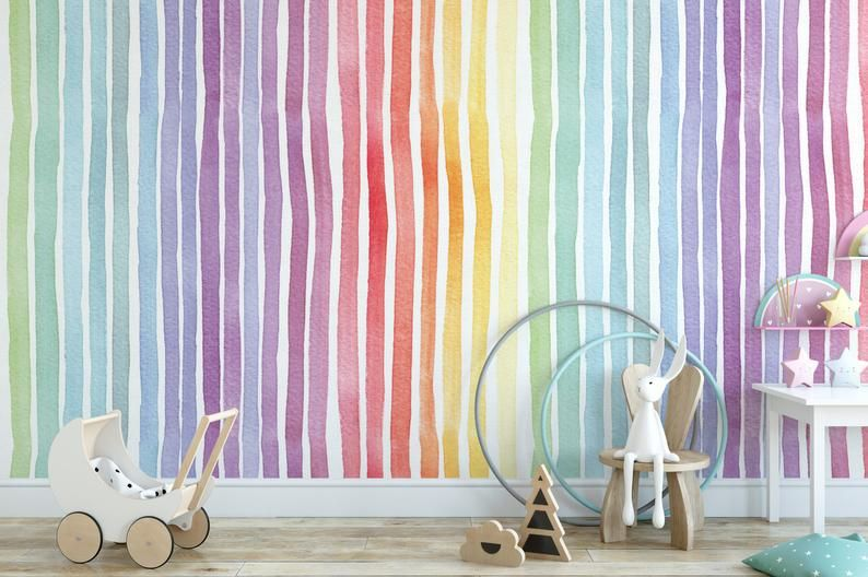 Hand Drawn Rainbow Lines Temporary Removable Wallpaper Peel Etsy Removable Wallpaper How To Draw Hands Accent Wall