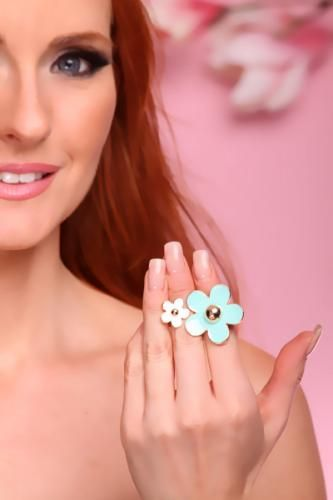 Blue White Flower Double Knuckle Band Cocktail Ring