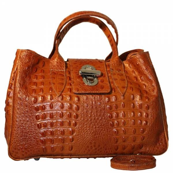 Italian Leather Alligator Print Handbags Made in Italy Cognac ...