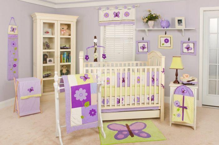 kinderzimmer babyzimmer dekoration schmetterlinge lila blume decke ... | {Dekoration babyzimmer 63}