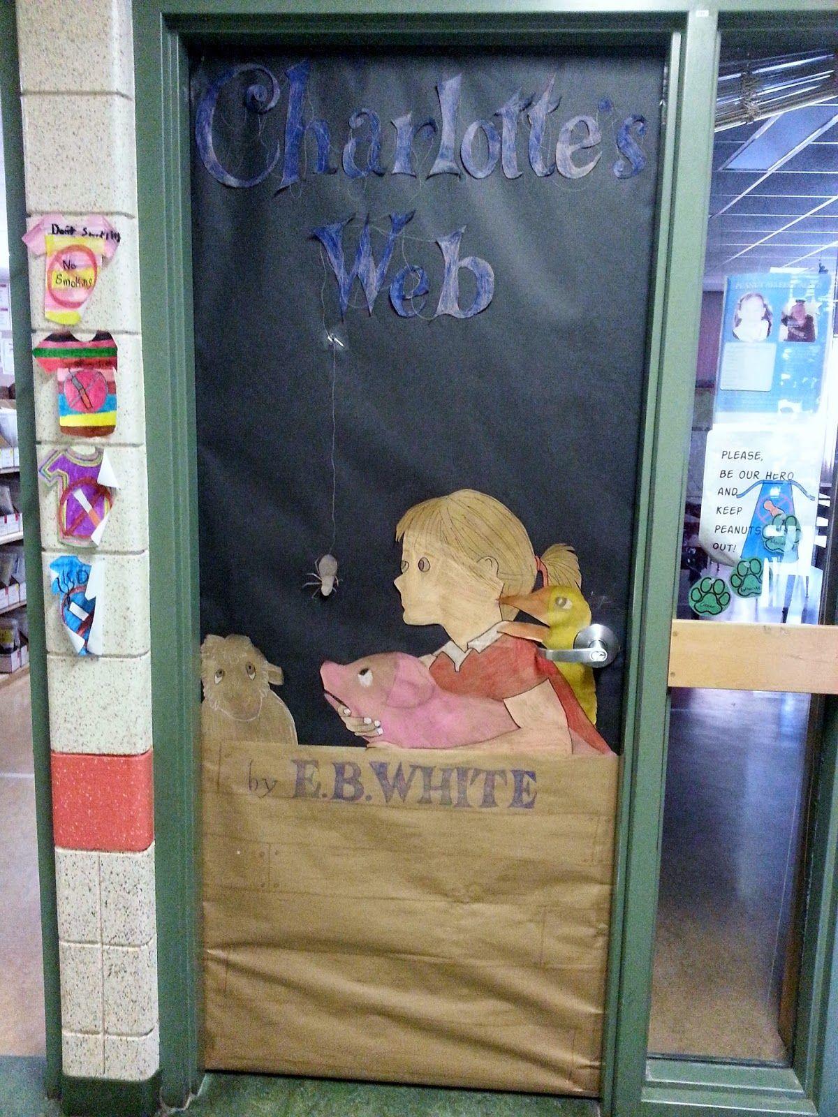 Classroom Decor Websites ~ Charlotte s web book themed door school bulletin boards