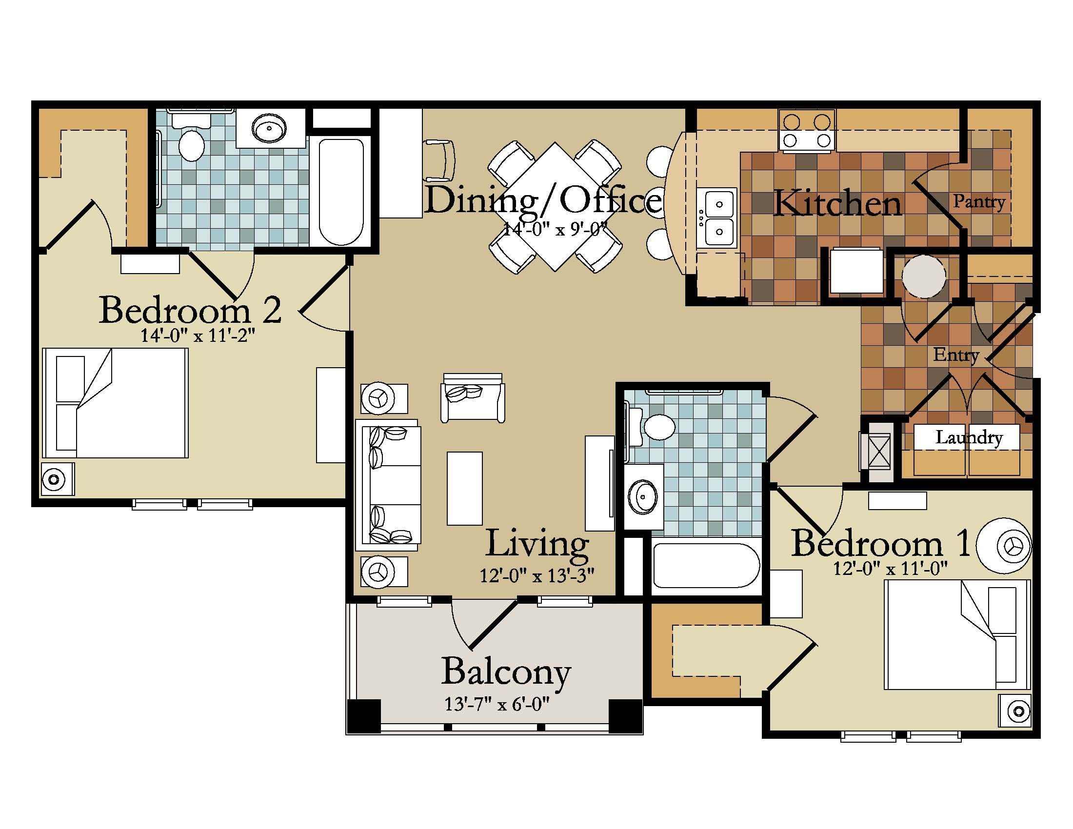 2 bedroom floor plans. Two Bedroom Apartment Floor Plans by Apartments Springfield Mo  The Abbey Along With