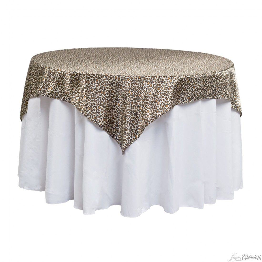 60 In Square Satin Overlay Leopard Print For Weddings At