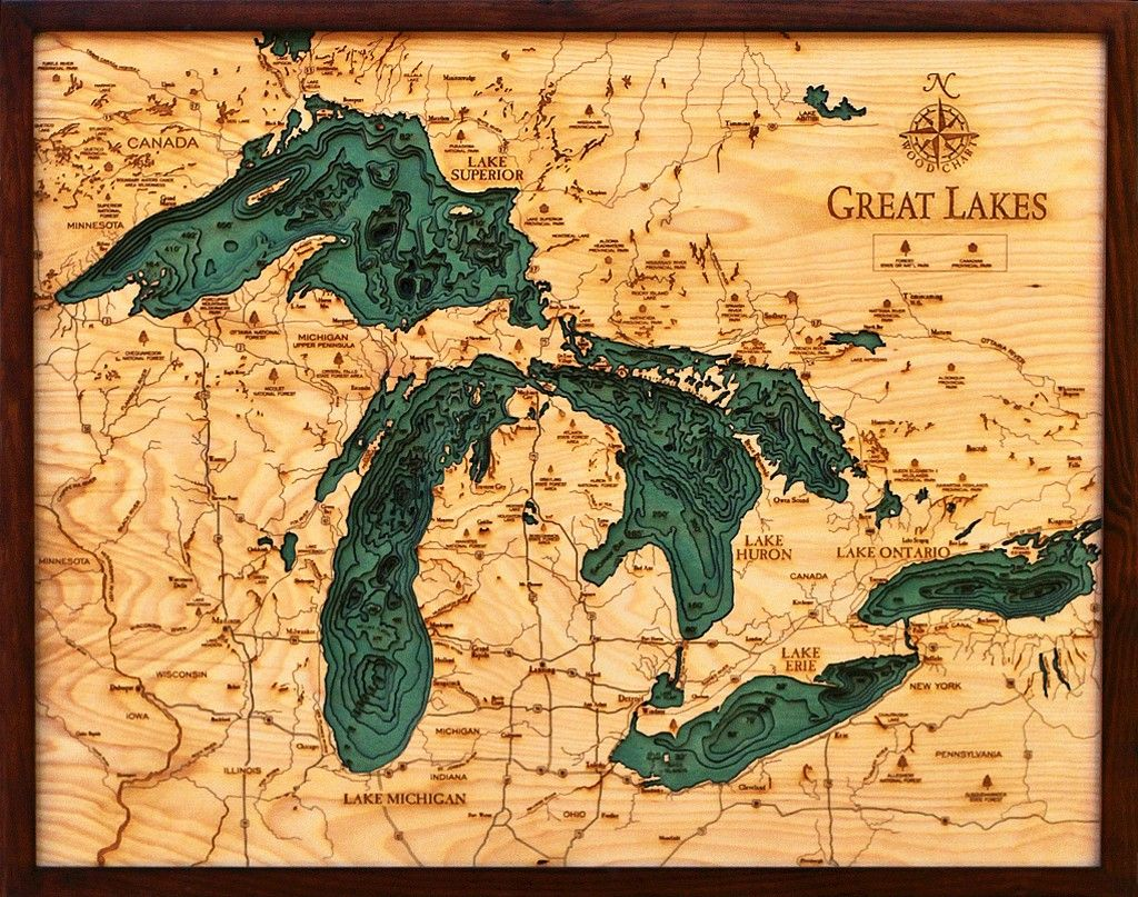 Great Lakes Topographic Map Small Wooden Framed | Wall Decoration ...