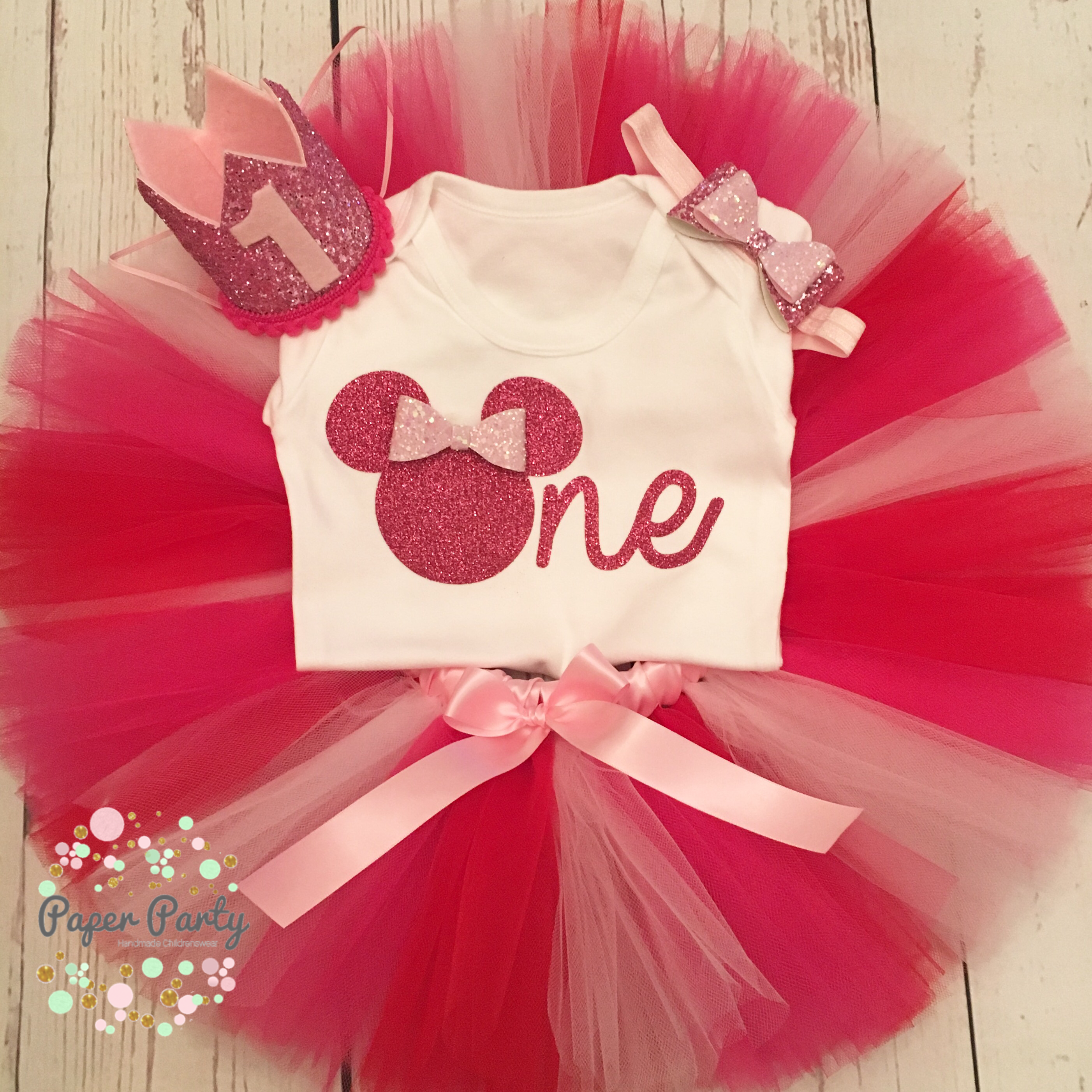 Minnie Mouse brights 1st birthday cake smash outfit by Paper Party