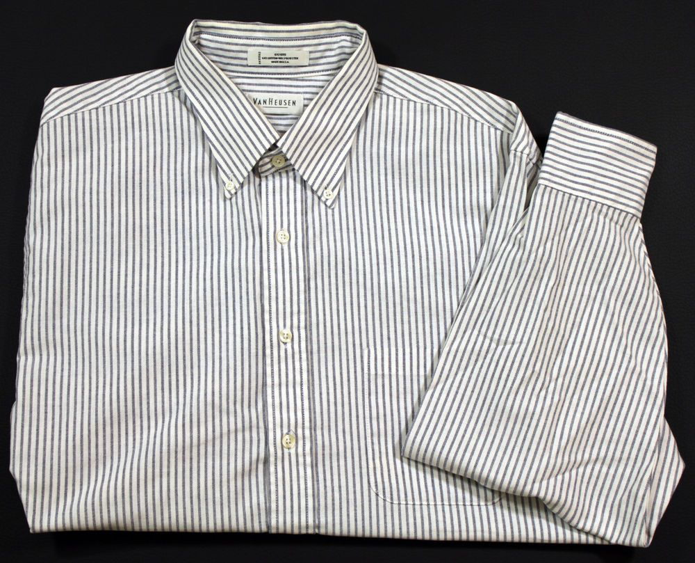 adffe49e32085e Van Heusen Dress Shirt Mens Size 17.5 34 35 Long Sleeve Blue and White  Striped