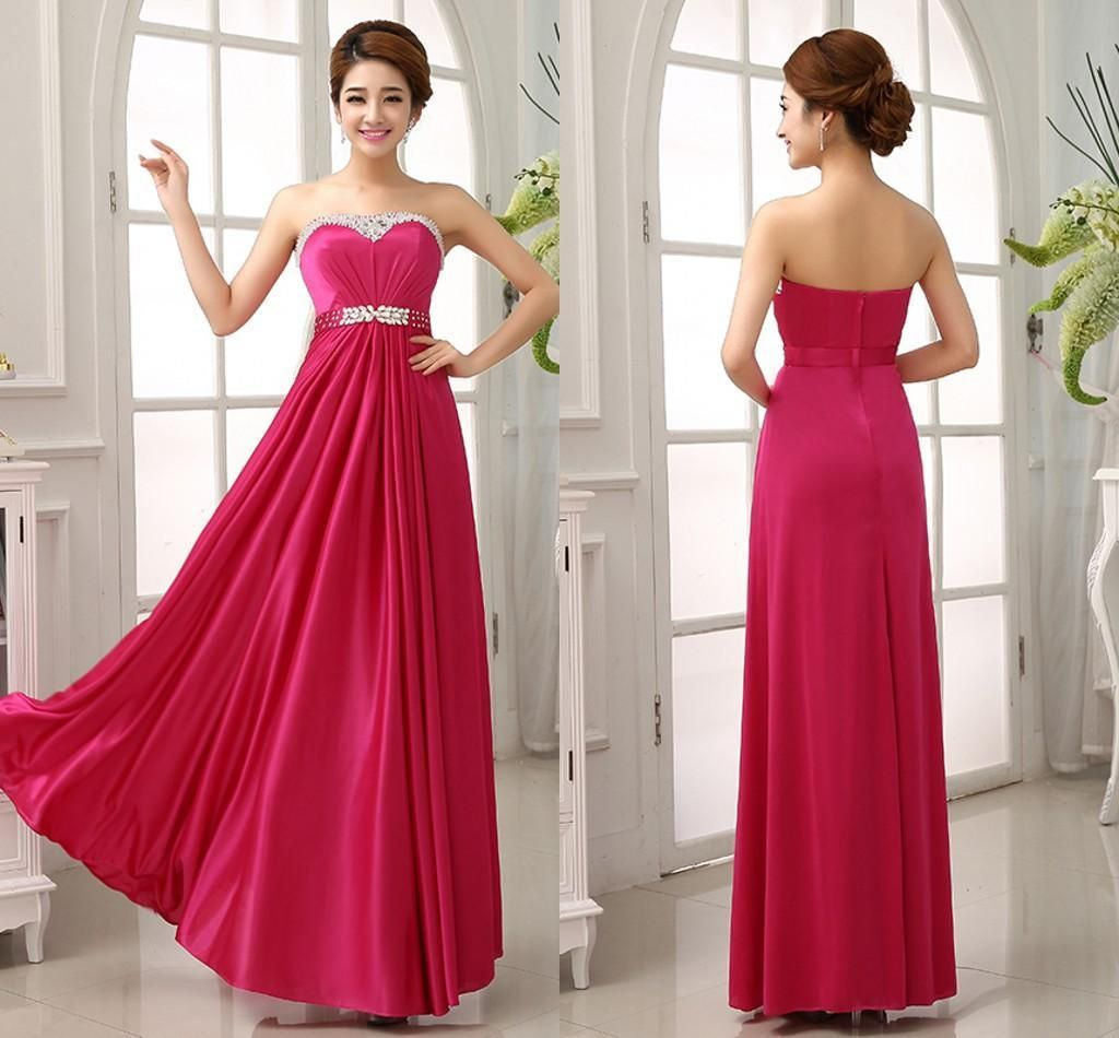 Fuschia hot pink bridesmaid dresses junior maid honor long for Maid of honor wedding dresses