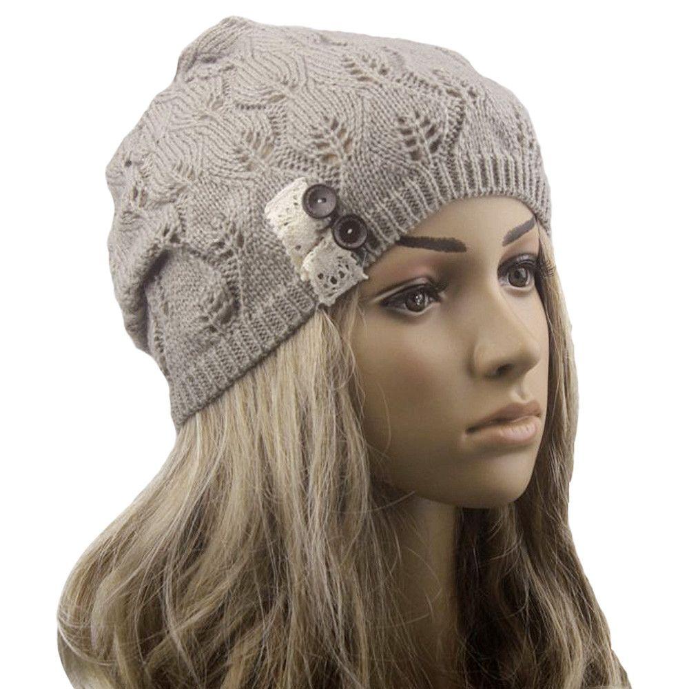 Femmes d hiver tricot eacute  chapeau 2017 coton  agrave  tricoter gris  couleur chaud skully surdimensionn eacute  bonnets chapeau femme tricoter  sombrero ... 11b795122a0