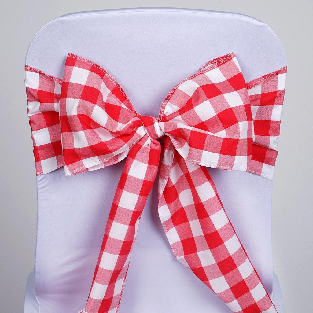 Gingham Chair Sashes 5 Pcs Red White Buffalo Plaid Checkered Polyester Chair Sashes In 2020 Chair Sashes Wedding Chair Sashes Sale Decoration