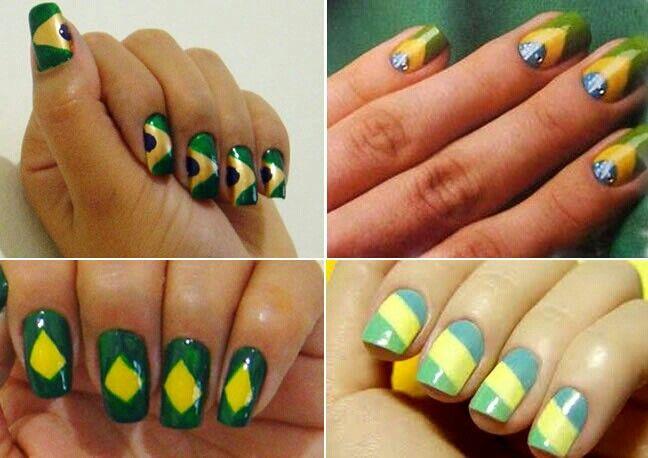 Unhas decoradas:Brasil, vamos torcer!!♡♡