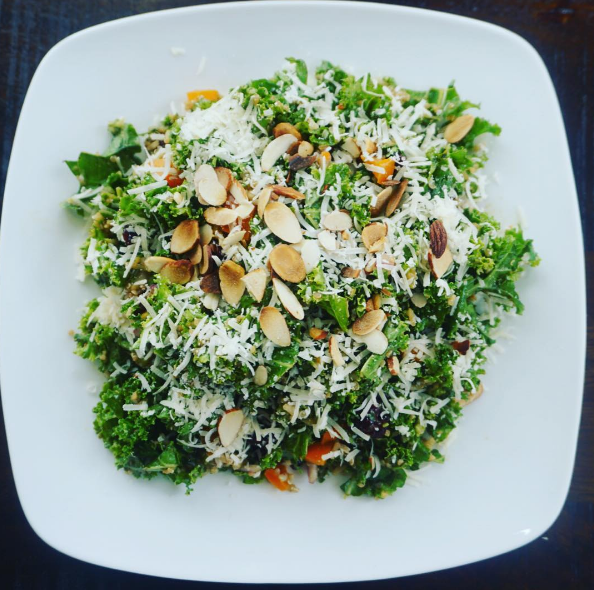 Kale Salad with Quinoa, Cranberries, Almonds and Fresh Parmesan – Totally Fit Mama