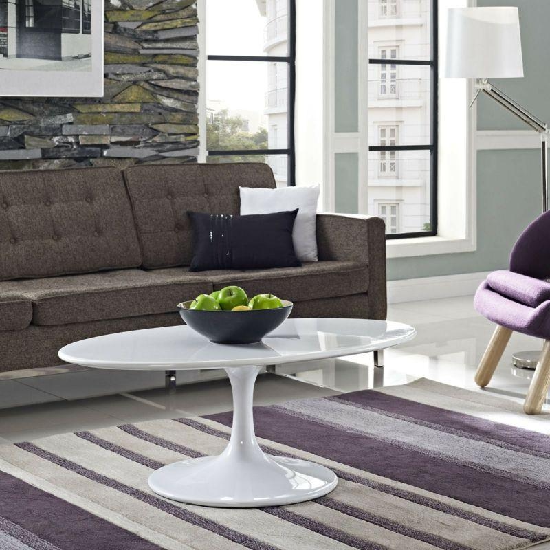 design couchtische weiss hochglanz oval retro look teppich lila - couchtisch weiss design ideen