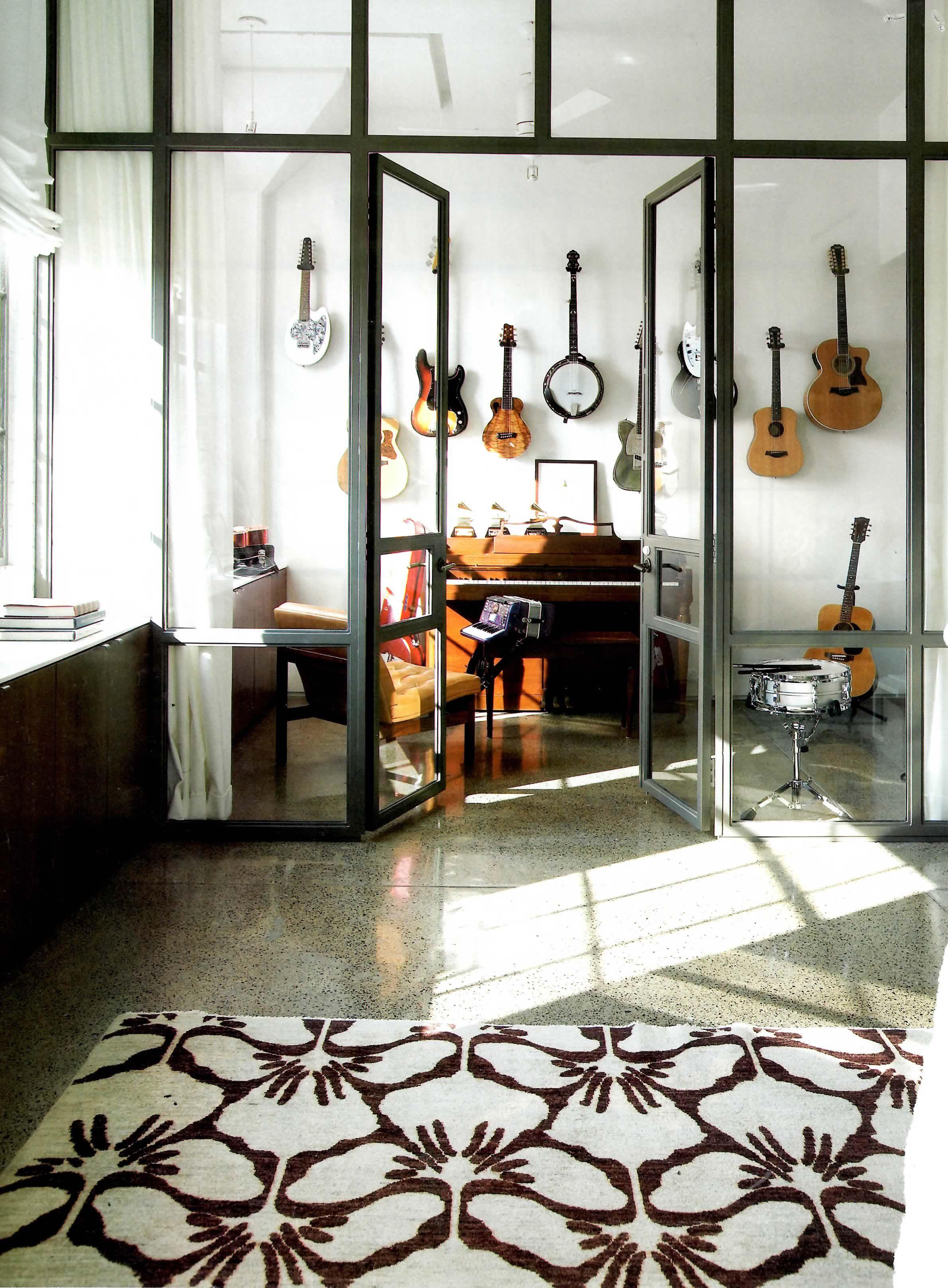 House Music Room: Industrial Doors To Music Studio