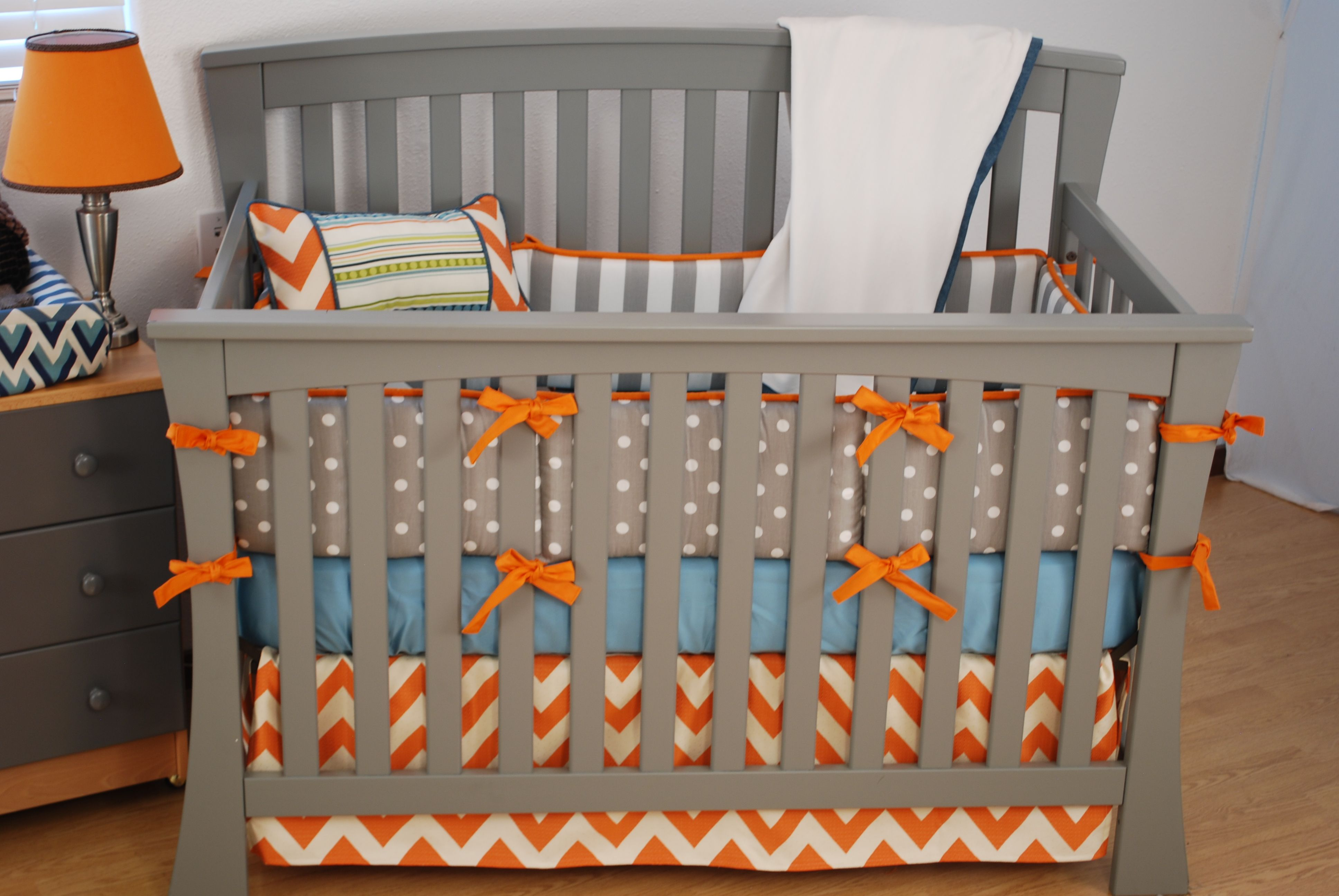 Orange chevron crib bedding with grey and aqua fabrics for Boy nursery fabric