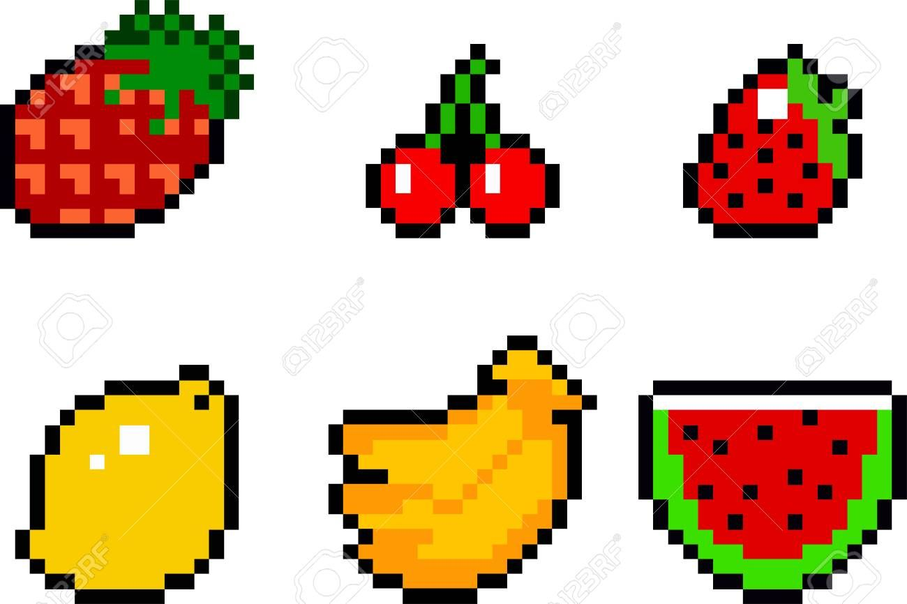 Stock Photo Pixel Art Pixel Art Fruit Et Pixel