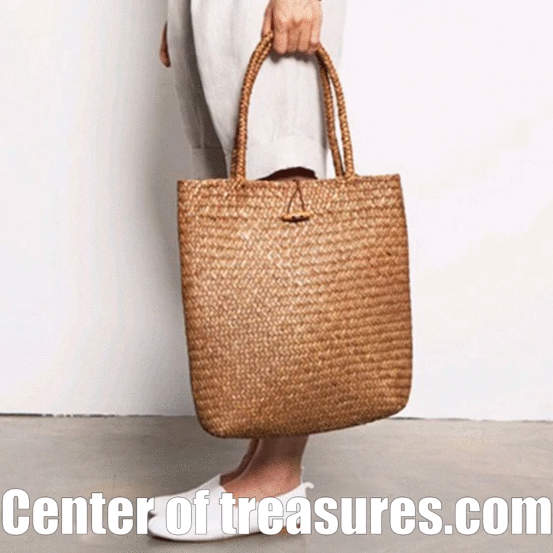 Photo of Women Handbag Summer Beach Bag Rattan Woven Handmade Knitted Straw