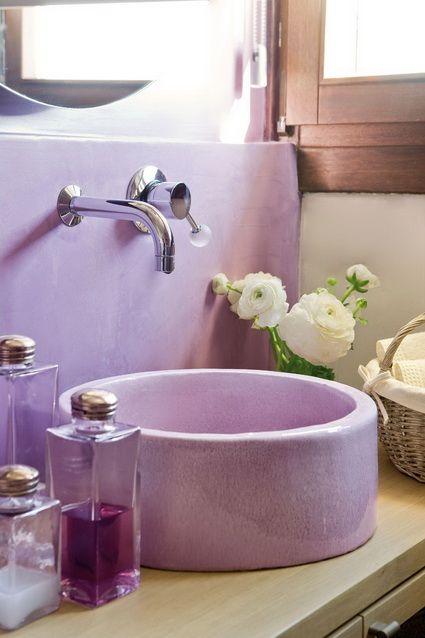 Banos En Color Lila Casa Purpura Decoracion De Unas Y Color